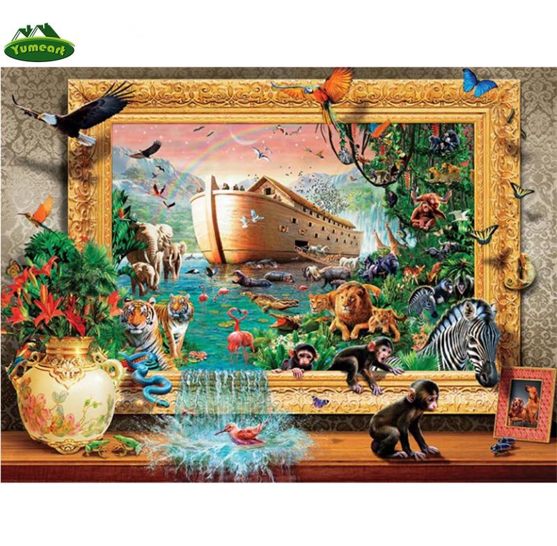 YUMEART bordado de diamantes mundo de los animales barco del mar completo cuadrado de mosaico artesanal de diamantes 5D pintura de diamantes animales de punto de cruz Zoo