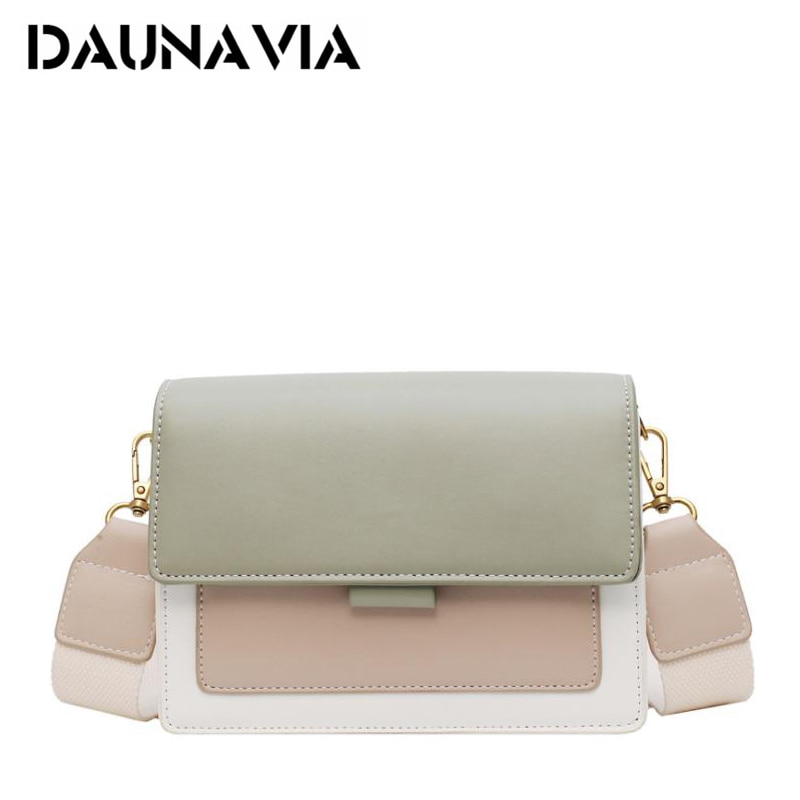 DAUNAVIA Leather Crossbody Bags For Women 2019 Green Chain Shoulder Messenger Bag Lady Travel Purses and Handbags Cross Body Bag