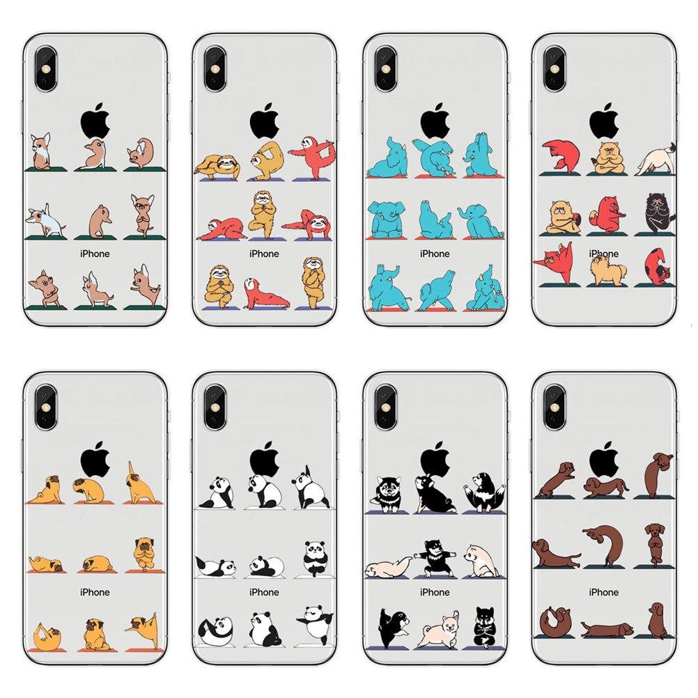 Para o iphone 7 mais caso dos desenhos animados bonito animais gato cão macio tpu telefone caso para iphone 5 5S se 6 s 8 plus x yoga silicone capa