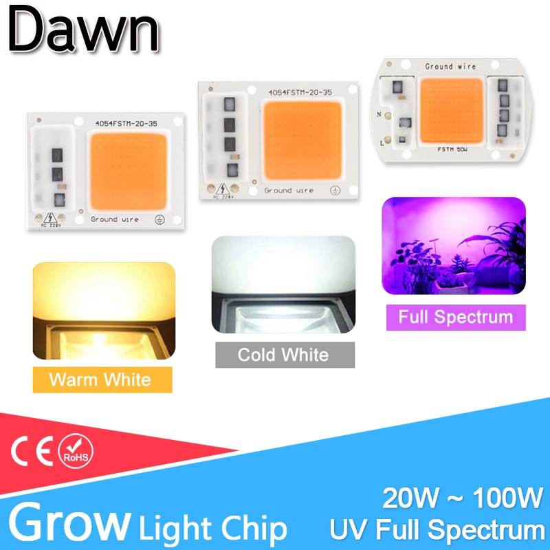 high power led chip 1w 3w 5w 10w 20w 30w 50w 100w smd cob light bead warm cold white red green blue rgb full spectrum grow light LED COB Grow Light /UV Full Spectrum/Warm/Cold White AC 220V 240V 20W 30W 50W 100W For Flower Plant Growth