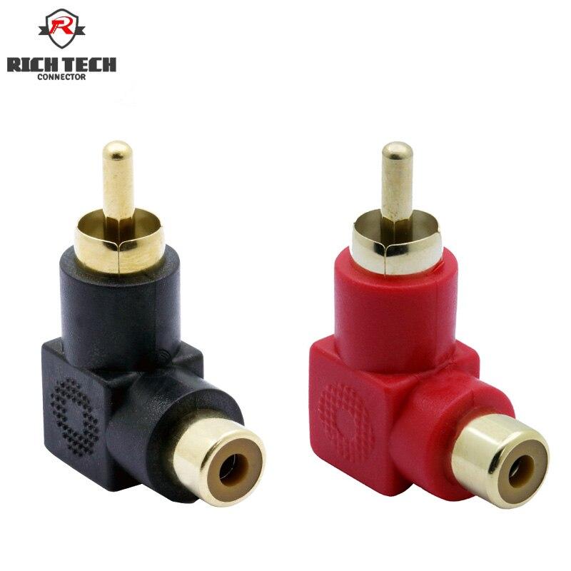 8 pces/4 pairs rca conector banhado a ouro plug ângulo direito plugue macho para fêmea jack cotovelo rca conversor vermelho + preto cor