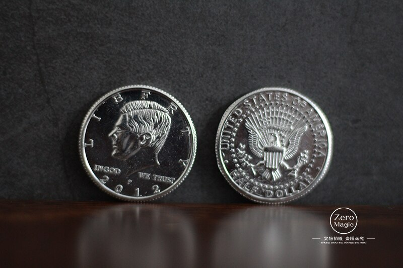 1pcs Half Dollar Coin Magic Tricks Copy Style/Real Coin Magician Close Up  Illusion  Props Gimmick