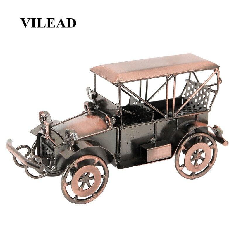 Figuritas VILEAD de 10,5 cm, modelo de coche clásico de hierro, artesanías Retro de aleación para oficina, escritorio frontal, dormitorio, decoración del hogar, accesorios de regalo