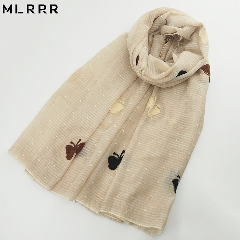 MLRRR new fashion beautiful long butterfly embroidery scarf (blue, light purple, beige, pink, leather powder, khaki, green, ligh