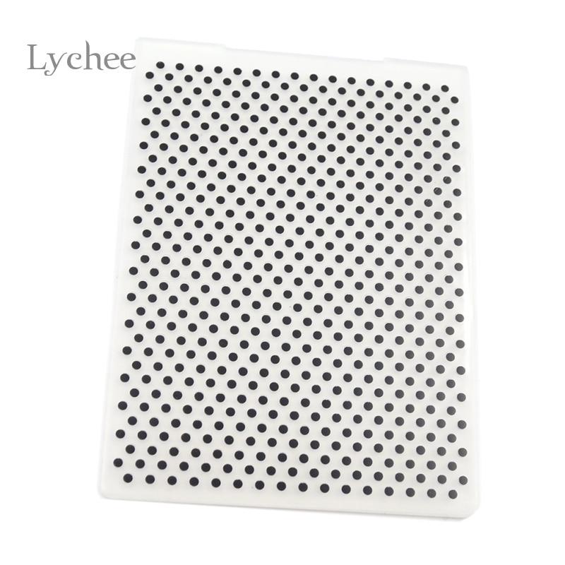 Lychee Life Plastic Embossing Folder For Scrapbook DIY Album Card Tool Plastic Template Stamping Round Dot Pattern