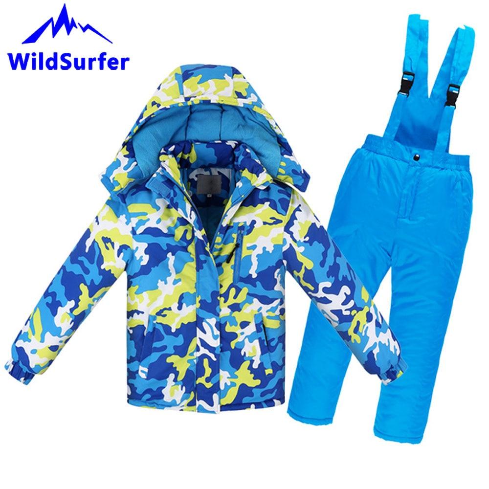 WildSurfer Детские Зимние камуфляжные лыжные комплекты, ветрозащитные теплые для мальчиков и девочек, сноуборд, лыжная куртка, штаны, Детские Зи...