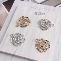 10pcslot simple hollow crystal rose metal dangle charms pendant enamel charms diy jewelry earrings bracelet accessories making
