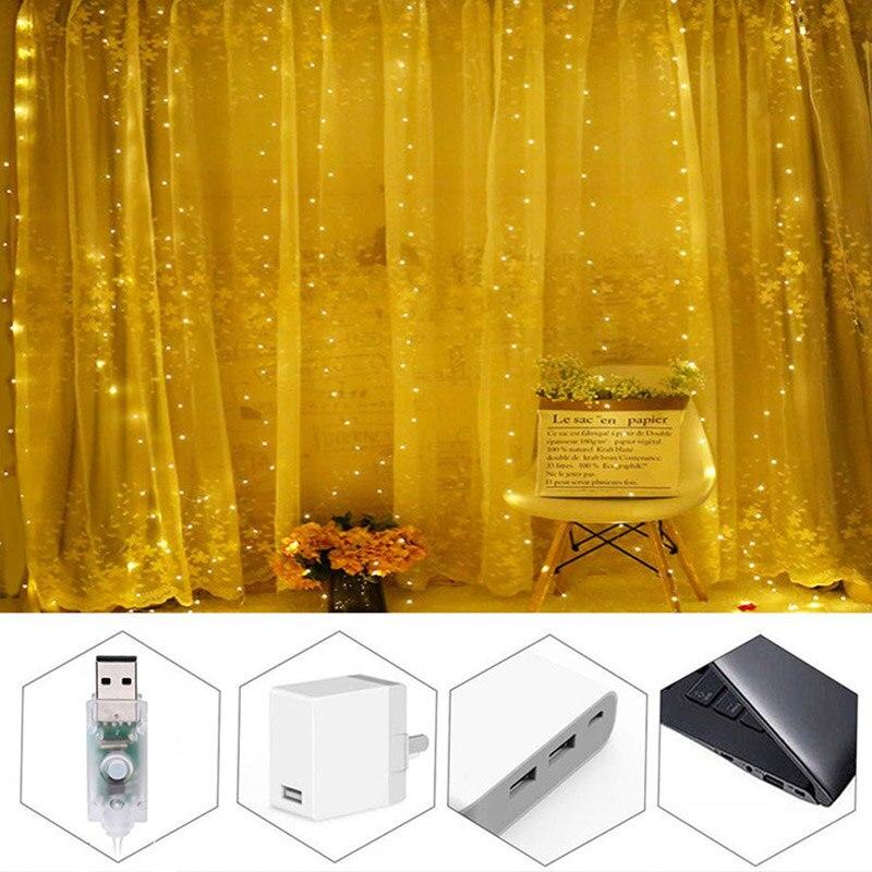 Cortina de alambre USB de cobre, lámpara de fondo decorativa, lámpara colorida, ambiente romántico, Navidad, Día de San Valentín