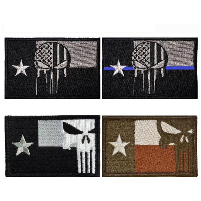 3D bordado militar placa brazalete Texas insignia con diseño Punisher Americano bandera táctico militar de la Asamblea bordado gemelos de insignia