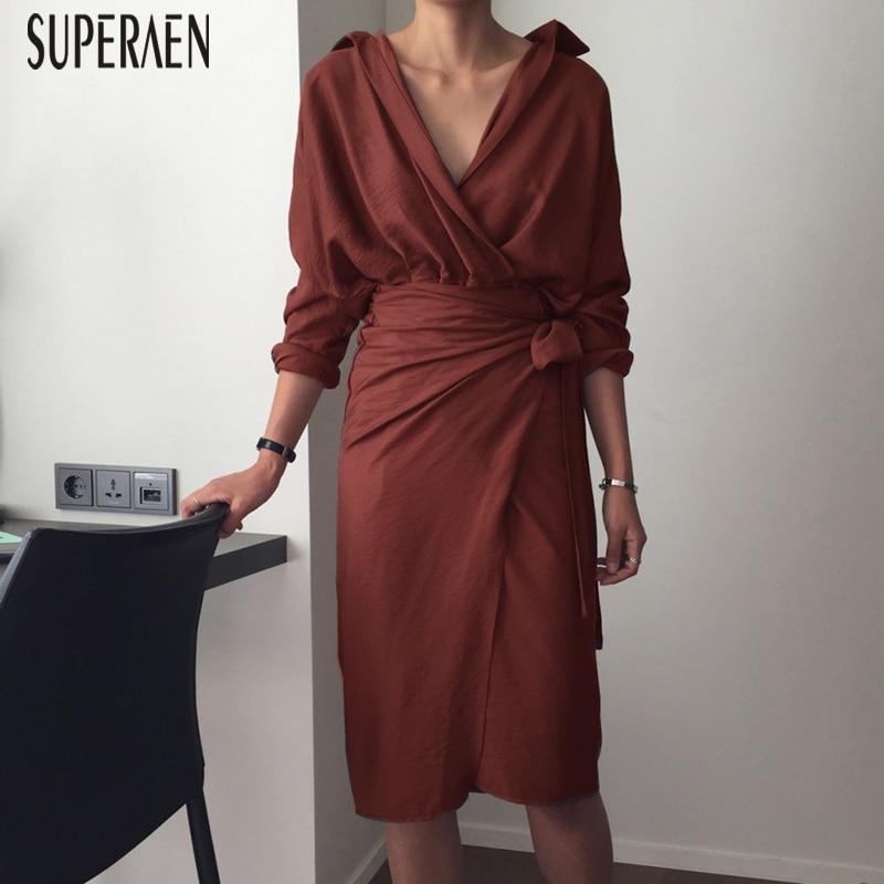 SuperAen Korean Style Fashion Women Dress Solid Color Cotton Temperament Ladies Dress Long Sleeve V-neck Dress Autumn New 2018