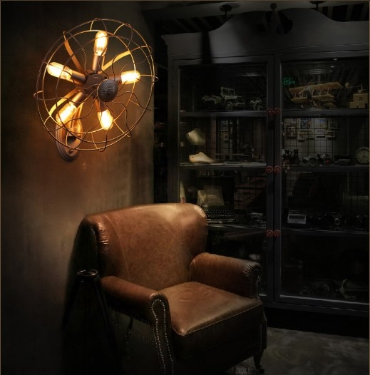 Apliques largos rojos Murale Retro estilo Loft Vintage Industrial lámpara de pared con 5 luces para el hogar Edison lámpara de la propia identidad ventilador eléctrico