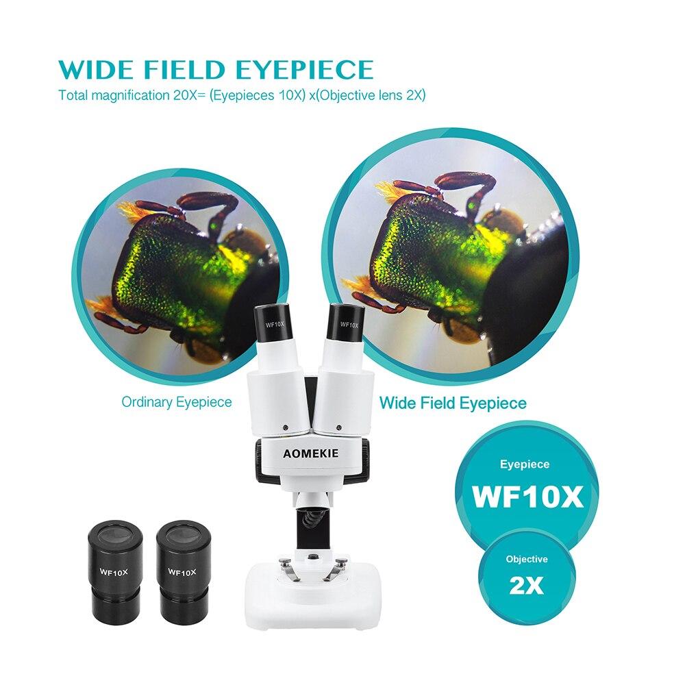 AOMEKIE-Microscopio Binocular estéreo con LED, herramienta de soldadura PCB, reparación de teléfonos móviles, observación Mineral, 20X