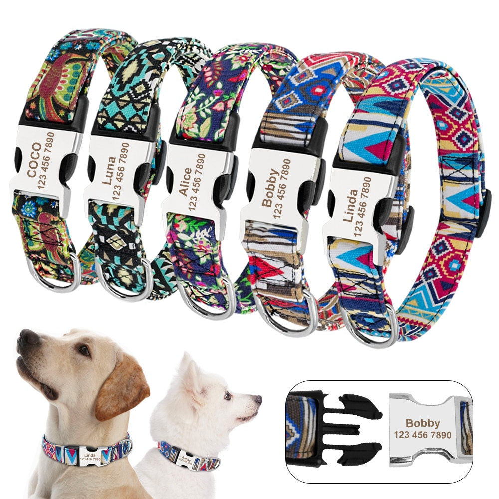 Custom Dog Collar Personalized Nylon Pet Dog Tag Collar Adjustable Engraved Puppy Cat Nameplate ID Collars For Small Large Dogs personalized dog collar nylon print dog collars customized puppy pet collar engraved name id for small medium large big dogs pug