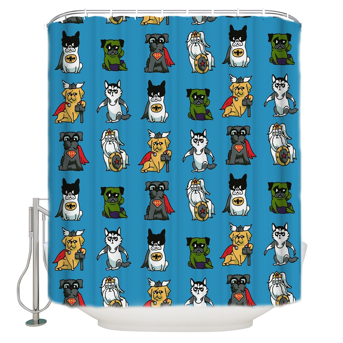 Супергерои щенки сверхдлинные тканевые занавески для ванной и душа декоративные