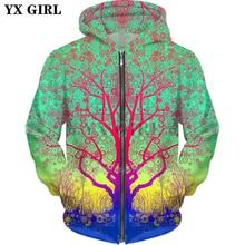 YX GIRL Drop shipping 2018 autumn New Fashion Zip-Up Hoodie Green Star Trip Tree 3d Print Men's Women's hoodie Jacket