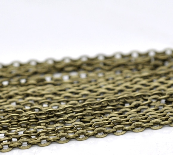 DoreenBeads 10M tono bronce cadenas de enlace plano abierto 4x3mm (B12779), yiwu