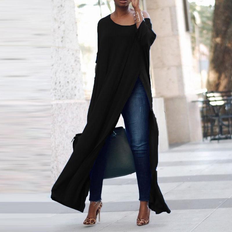 Top moda ZANZEA mujeres hombro frío 3/4 manga sólido alto Split Hem Vestido primavera Fiesta Club camisa tipo blusa larga de talla grande