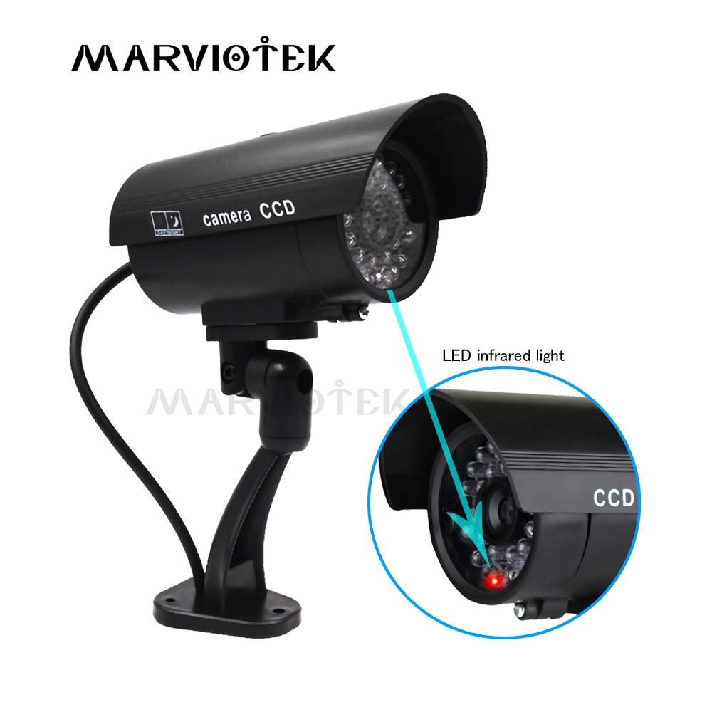 Cámara ficticia impermeable al aire libre de seguridad del hogar Video vigilancia CCTV cámaras ficticias cámara de bala con luz LED Cámara falsa