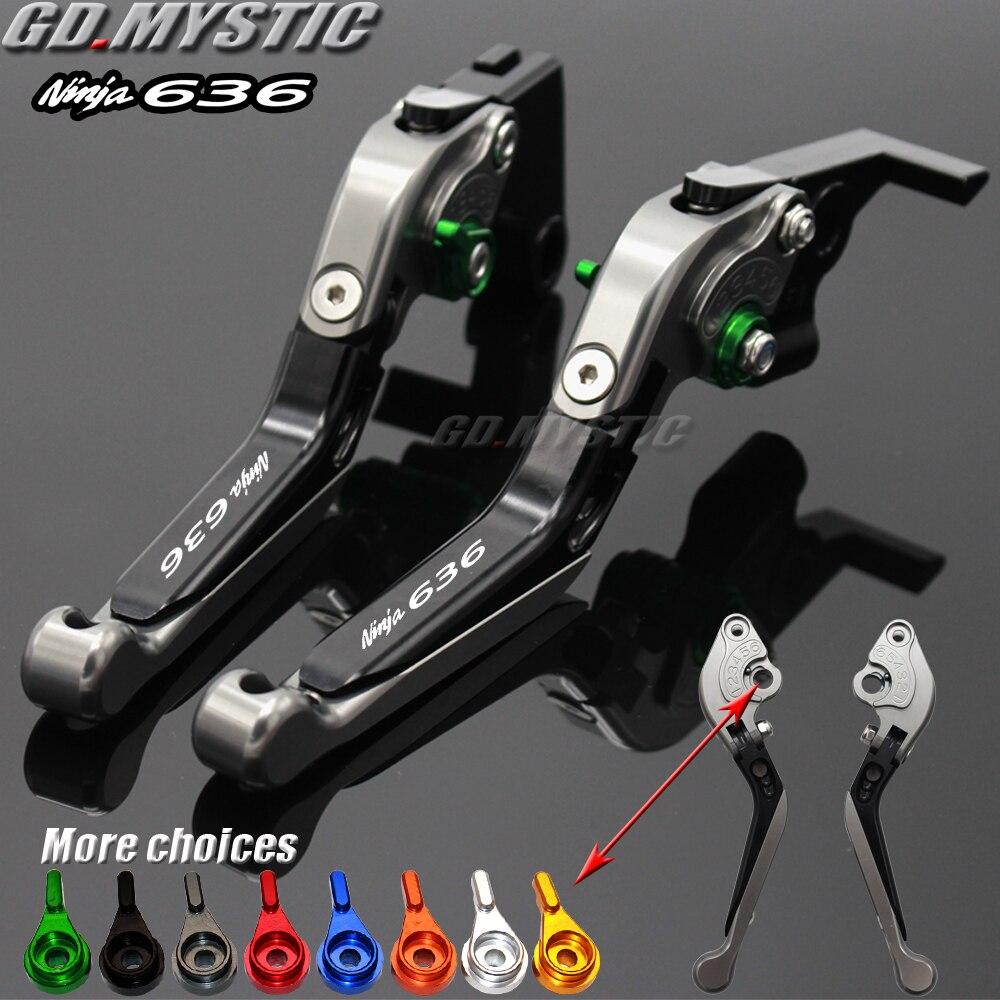 Palancas de freno para motocicleta Kawasaki, embrague CNC extensible de bicicleta plegable ajustable para Kawasaki Ninja ZX6R 636 2007 2008-2016
