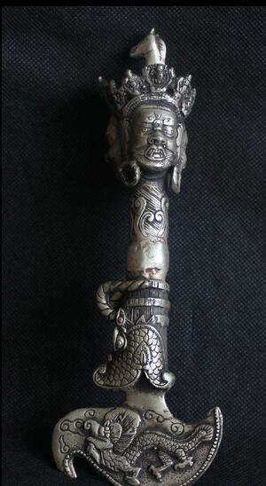 "Envío 8 ""Bestia Dragón Tibet Tibetan Silver Hayagriva Buddha Phurba Dagger Holder rápida"