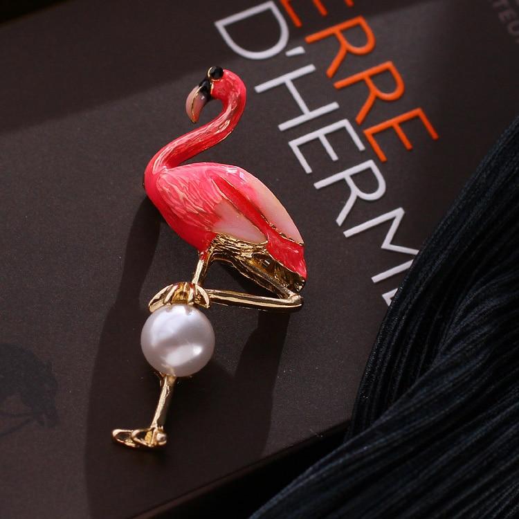 2019 real nova chegada liga de lata jóias dubai conjuntos de jóias keqiu doce esmalte flamingo pérola casaco camisola broche coreano feminino