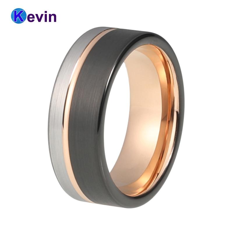 8 MM hombres mujeres boda banda tungsteno anillo negro Rosa oro Color con Offset ranurado cepillado Ajuste de comodidad