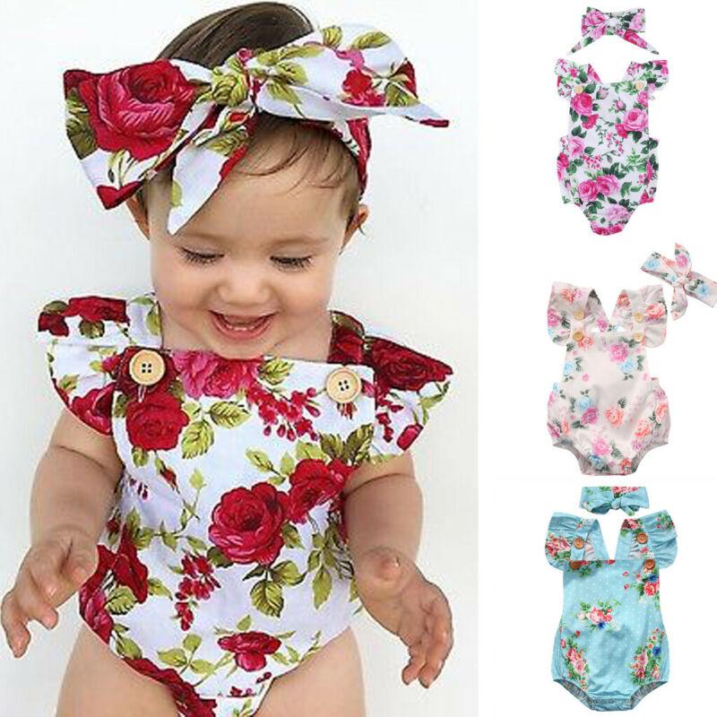 2021 Cute Floral Romper 2pcs Baby Girls Clothes Jumpsuit Romper + Headband 0-24M Age Infant Toddler