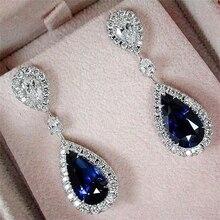 Vienkim Fashion Women Blue CZ Stone Dangle Drop Earrings Romantic Austrian Crystal Statement Jewelry Wedding Gift