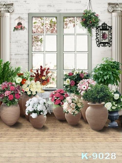 Tipos de flores tema Fondo tela pantalla verde ventana grande fotos estudios fondos suelo de madera soporte de fondo