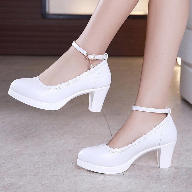 Gran tamaño 32-43 zapatos de plataforma de tacón de bloque zapatos de mujer 2019 tacón medio zapatos de primavera boda señoras Oficina fiesta baile zapato