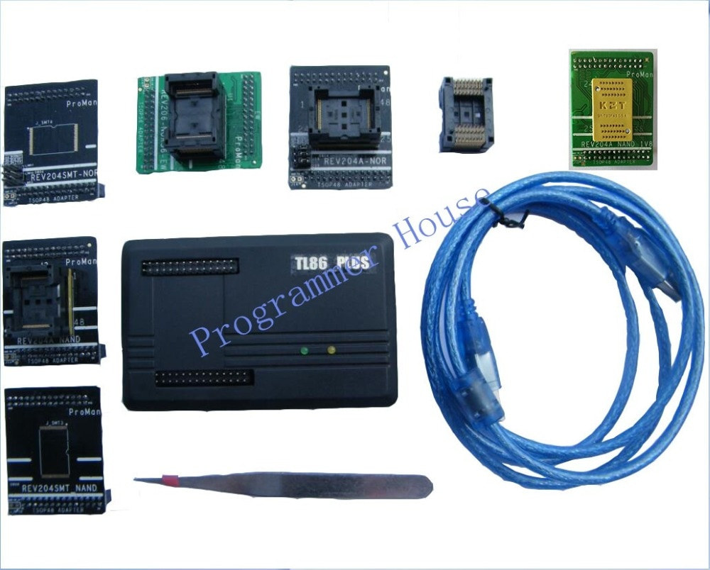 Proman tl86_Plus Профессиональный программатор nand nor, инструмент для ремонта копии NAND FLASH data recovery + TSOP48 & 56 TSOP56 + V1.8adapter