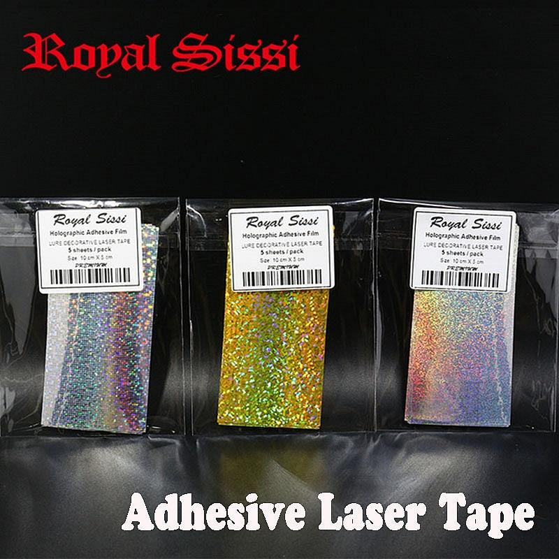 Royal Sissi 3packs/set 10cmX5cm Fly Tying Laser Rainbow Film 5pcs/pack Holographic Adhesive Film lure fishing spoon Flash Tape