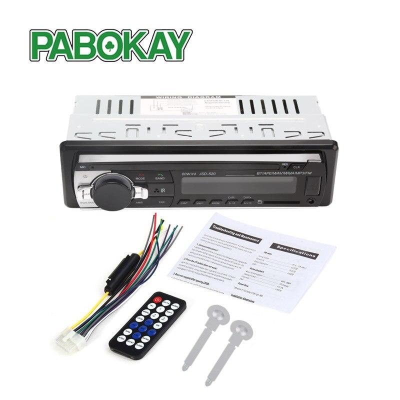 Radio de coche estéreo Bluetooth V2.0 JSD-520 12V en el tablero 1 Din FM RECEPTOR de entrada SD USB MP3 MMC WMA reproductor de audio
