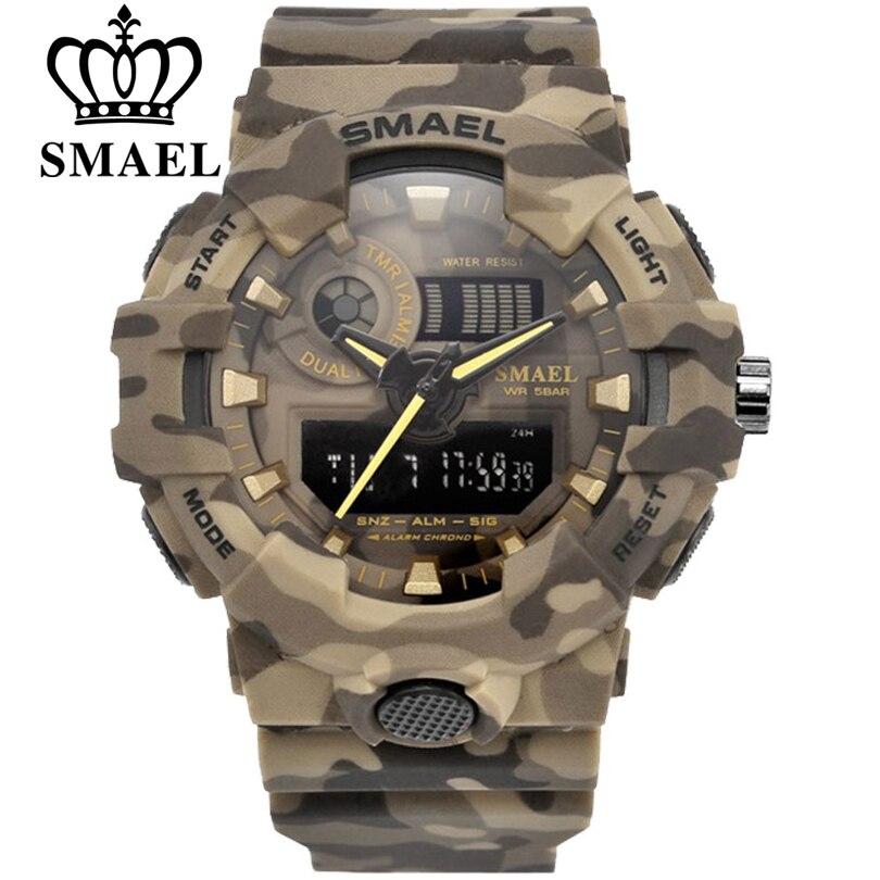 Спортивные армейские часы SMAEL, мужские цифровые часы со светодиодной подсветкой, водонепроницаемые до 50 м, мужские часы в подарок, бесплатная доставка