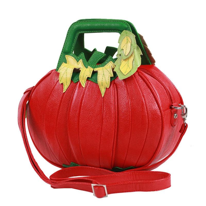Halloween Pumpkin Bag Genuine Leather Women Shoulder BagFashion Ladies Handbag Red Designer Crossbody Messenger Bag New