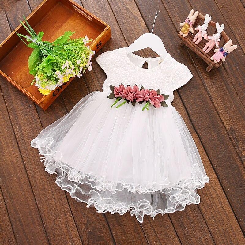 Vestido para niñas 2019, nuevo vestido de verano con cintura de flores para bebé, ropa de encaje sin mangas para niños 3M 6M 9M 12M 24M 3 años