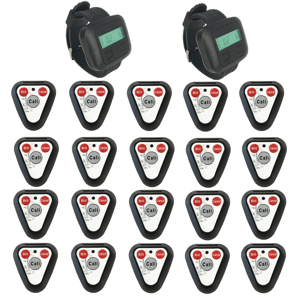 JINGLE BELLS wireless paging system 20 calling buttons+2 watch pager receiver/ watch pagers for restaurants call bells