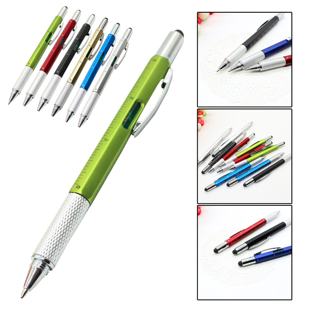 Tasche 1 Pcs 6 in 1 Mehrzweck Stift mit Touchscreen Herrscher Ebene Multi Kopf Schraubendreher mit 5 farben