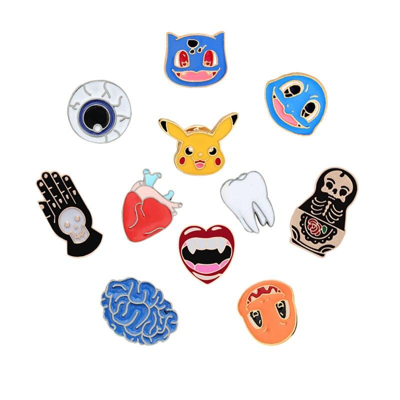 Mannen Broche Vrouwen Emaille Sieraden Kids Cartoon Pokemon Pin Orgel Oogbol Tanden Vampire Skull Hart Badge Denim Jassen Kraag Pinnen