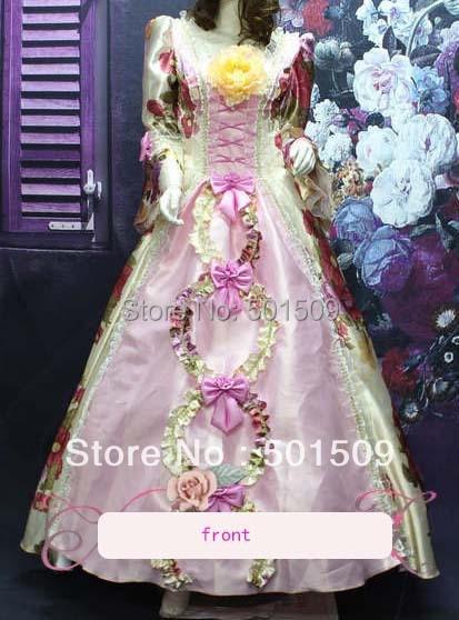 Medieval Renaissance gown rose flower pink princess dresses costume Victorian Gothic/Marie Antoinette/ war Colonial Belle Ball