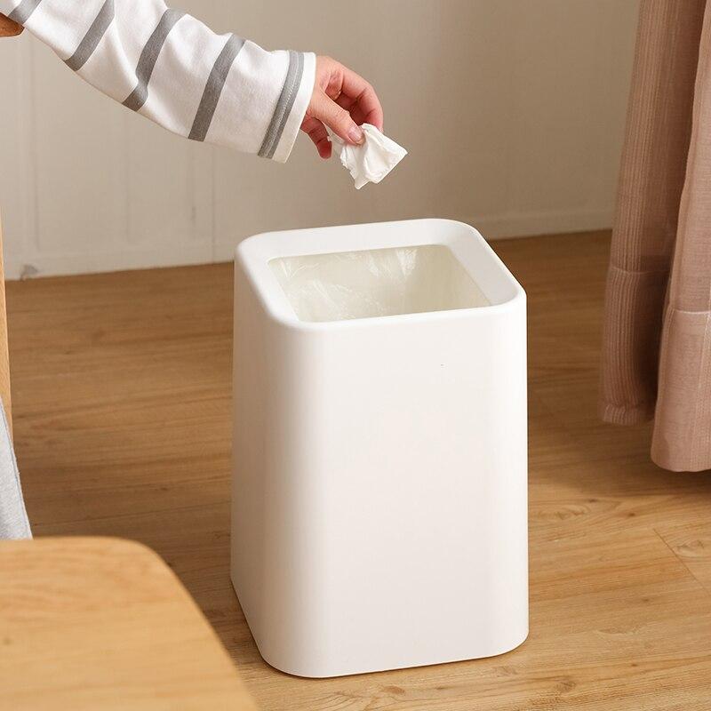 GUANYAO Branco lata de lixo estilo Moderno Quadrado Cesta De Papel Plástico Sem tampa da lata de lixo PP + ABS camada Dupla Em Pé caixotes do lixo