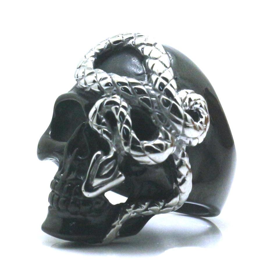 Размер от 7 до 16, мужское кольцо из нержавеющей стали 316L для мальчиков, Крутое панк, готическое, с принтом в виде черепа, змея, новинка, бесплат...