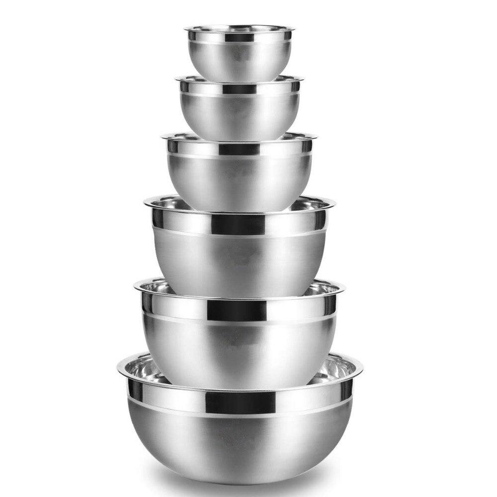 Lmetjma bacias de mistura de aço inoxidável (conjunto de 6) não deslizamento de nidificação whisking tigelas conjunto de mistura para salada cozimento kc0257