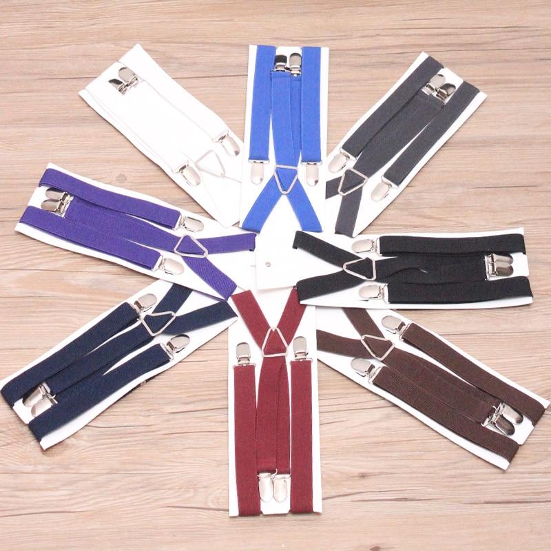 9 Color Elastic Leather Suspenders Men 4 Clips Braces Vintage Mens Women Suspender For Trousers Wedding Suspensorio For Skirt