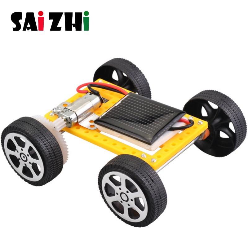 Saizhi, juguetes solares para niños, 1 Juego de Mini juguete eléctrico DIY, kit para coche Solar para niños, artefacto divertido educativo, regalo de Hobby SZ33g4