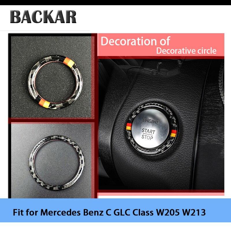 Backar Styling 3D Adesivos Para Mercedes Benz AMG Classe C E GLC W205 W213 de Parada de Partida do Motor de Ignição chave Anéis AMG Acessórios