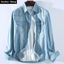 Camisa vaquera Casual para hombre en 4 colores, nueva moda 2020, Camisa vaquera de algodón de manga larga, ropa de marca para hombre, azul cielo negro