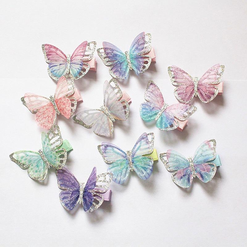 20 unids/lote Modish Girls Clips de pelo de mariposa purpurina plateada de doble capa horquilla niñas lindas pasadores de horquilla para niños Clips encantadores