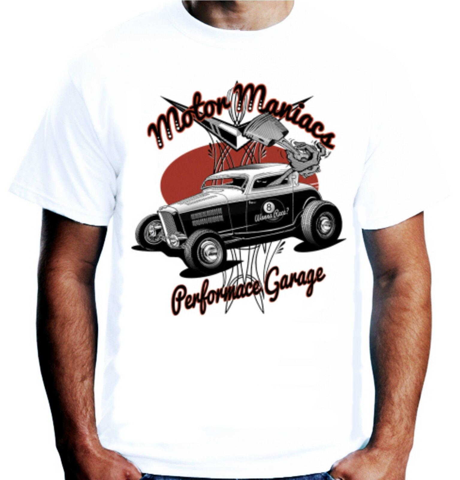Camisas Homme novedad Camiseta Hombre Motor maniaco camiseta Hot rata Rod coche americano 3 ventana Rockabillyhip Hop ropa
