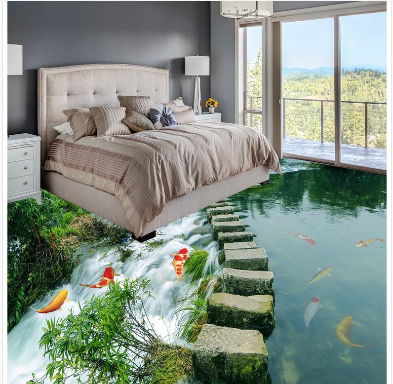 Pintura de suelo moderno camino de pizarra baño dormitorio 3D suelo PVC papel de pared autoadhesivo mural para piso